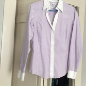 Brooks Brothers purple white fitted top 10
